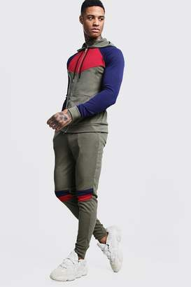 Zip Through Colour Block Knitted Tracksuit