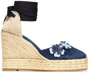 Castaner Woven And Floral-Appliquéd Suede Wedge Espadrilles
