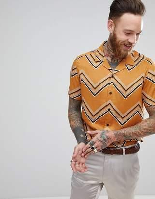 Asos Design Regular Fit Chevron Stripe Shirt