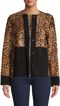 Lafayette 148 New York Suede-Trim Calf Hair Jacket
