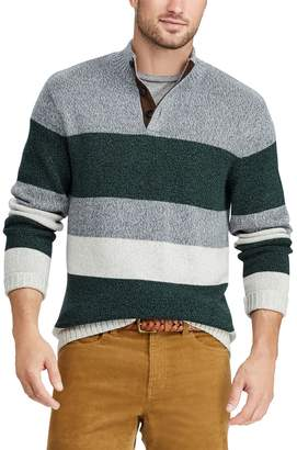 Chaps Big & Tall Classic-Fit Striped Mockneck Sweater