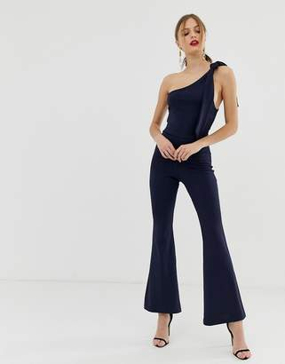 John Zack one shoulder fitted jumpsuit with D ring belt detail in navy