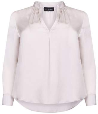 Live Unlimited Womens Ivory Satin Shirt With Gathered Neck Detail - White