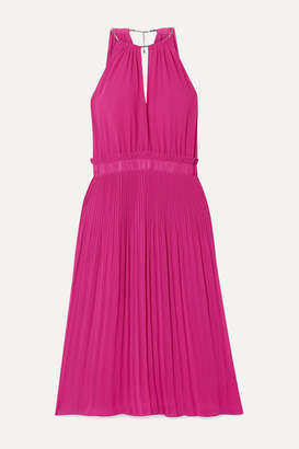 MICHAEL Michael Kors Hayden Chain-embellished Pleated Georgette Dress - Plum