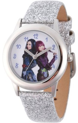Disney Descendants 2 Evie and Mal Tween Girls' Stainless Steel Watch, Silver Glitter Leather Strap