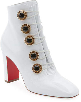 5284ffc5e39 Christian Louboutin Lady See Patent Button Red Sole Bootie