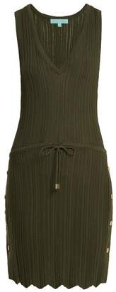 Melissa Odabash Arianna Deep V Neck Pointelle Knit Dress - Womens - Khaki