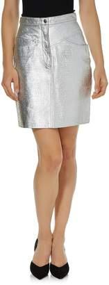Vintage Silver Embossed Leather Skirt