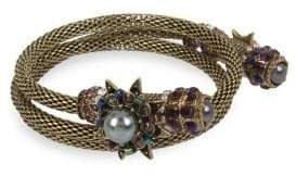 Miriam Haskell Faux Pearl and Flower Mesh Coil Bracelet