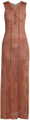 Melissa Odabash Kourtney lace-up pointelle-knit maxi dress