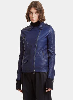 Giorgio Brato Perfecto Leather Jacket in Blue