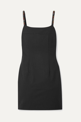 STAUD - Blitz Crystal-embellished Crepe Mini Dress - Black