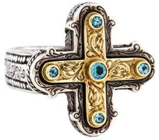 Konstantino Blue Topaz Cross Cocktail Ring