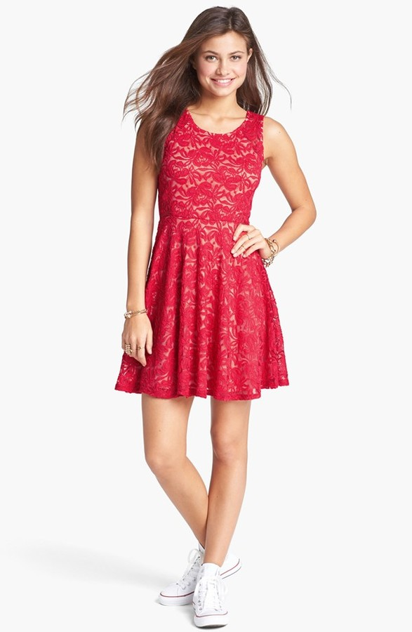 Soprano Sleeveless Lace Skater Dress (Juniors)