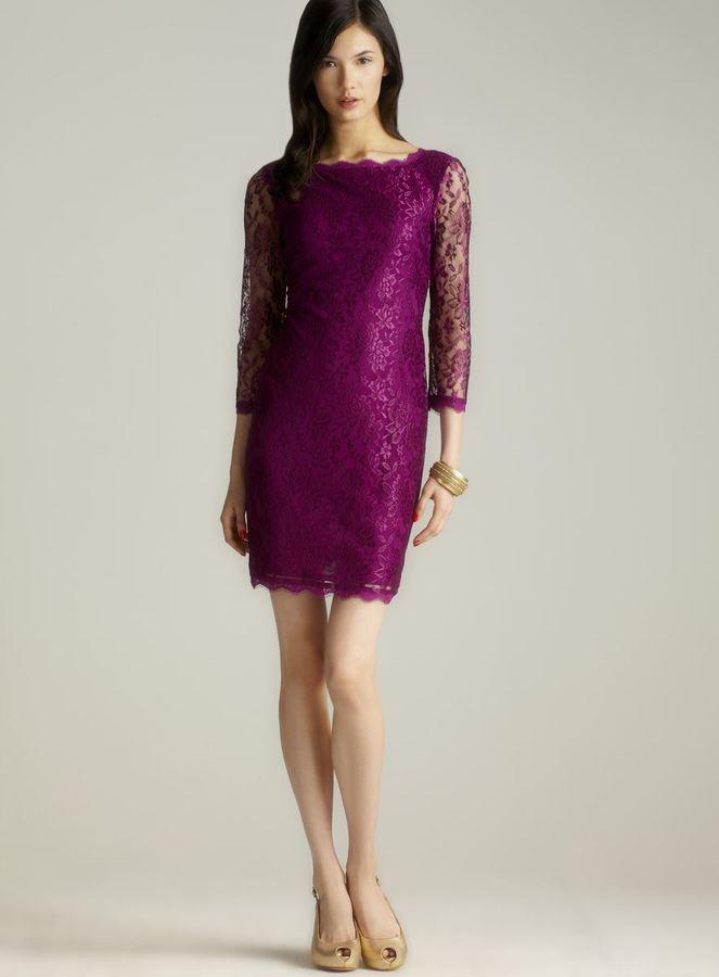 Adrianna Papell Back V Zippered Long Sleeve Lace Dress