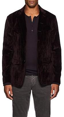John Varvatos Men's Velvet Military Six-Button Sportcoat - Wine