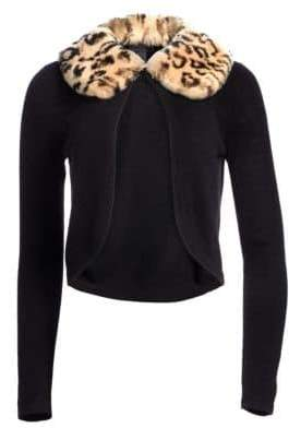 Saks Fifth Avenue COLLECTION Cashmere Leopard-Print Rabbit Fur Collar Cardigan