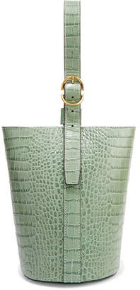 Trademark - Small Croc-effect Leather Bucket Bag - Gray green