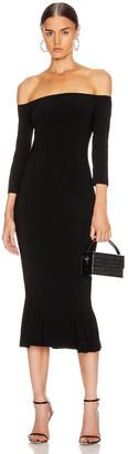 Norma Kamali Off Shoulder Fishtail Dress in Black | FWRD