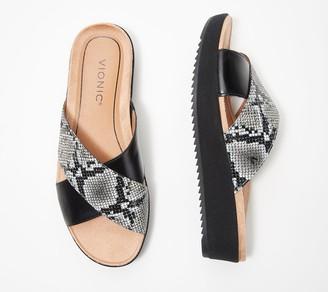 Vionic Leather Platform Slide Sandals - Hayden