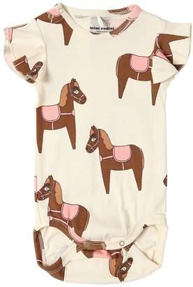 Mini Rodini Horses Print Cotton Jersey Bodysuit