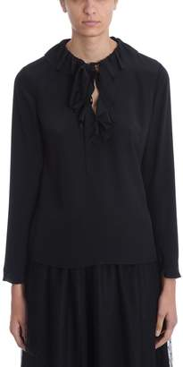 RED Valentino Black Silk Rouches Blouse
