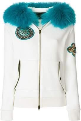 Mr & Mrs Italy waffled fur trim hoodie