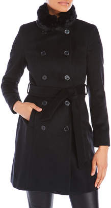 Lauren Ralph Lauren Faux Fur Tim Wool Military Coat