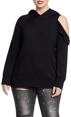 Rachel Roy RACHEL  Cold Shoulder Hooded Sweatshirt