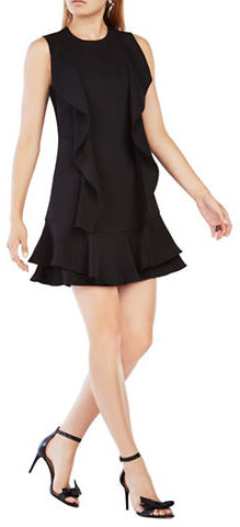 BCBGMAXAZRIABcbgmaxazria Short Sleeve Ruffle Drop Waist Dress