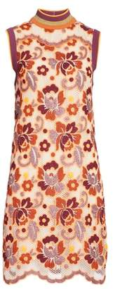 Burberry Edna Floral Crochet Shift Dress