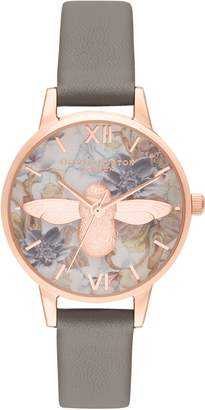 Olivia Burton Marble Floral Faux Leather Strap Watch, 30mm