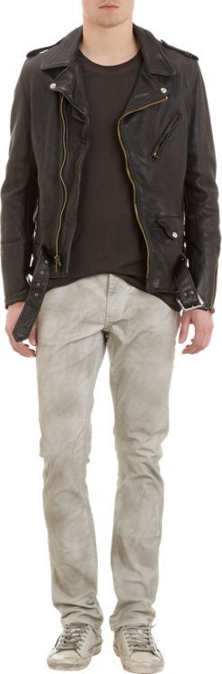 Schott NYC Perfecto Brand by Hand-Cut Leather Motorcycle Jacket-Black