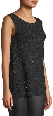 Lafayette 148 New York Shimmered Ribbed-Knit Sleeveless Tunic
