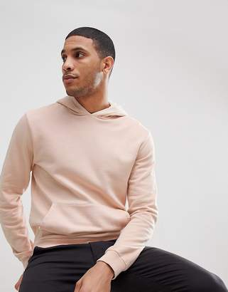 Reiss Garment Dye Hoodie In Light Pink