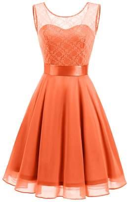 BeryLove Women's Short Floral Lace Bridesmaid A-line Part Dress BLP7005L