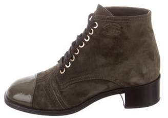 Chanel Suede Cap-Toe Ankle Boots green Suede Cap-Toe Ankle Boots