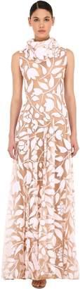 Sandra Mansour LONG PATTERNED TULLE DRESS