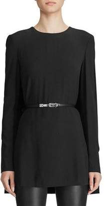Ralph Lauren Avianna Leather-Belted Crepe Tunic