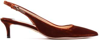 Prada Point-toe slingback kitten-heel velvet pumps