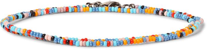 Paul SmithPaul Smith Glass Bead Gunmetal Wrap Bracelet