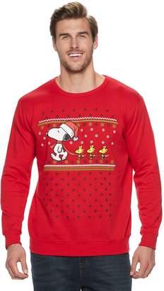 Big & Tall Peanuts Snoopy & Woodstock Santa Holiday Fleece Top