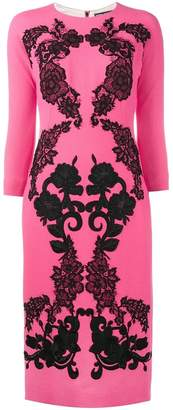 Dolce & Gabbana rose embroidered crepe dress