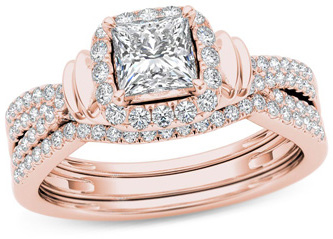 1 CT. T.W. Princess-Cut Diamond Frame Multi-Row Three Piece Bridal Set in 14K Rose Gold