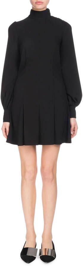 Proenza Schouler Mock-Neck Puff-Sleeve A-Line Textured Crepe Dress