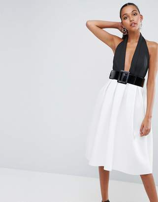 Asos DESIGN Mono Belted Halter Neck Midi Prom Dress