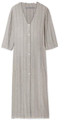 Raquel Allegra Striped Metallic Woven Dress - Gray