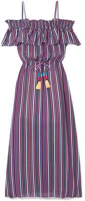 Figue Mirella Cold-shoulder Striped Silk Crepe De Chine Midi Dress