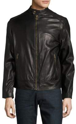 Cole Haan Zip-Front Faux-Leather Moto Jacket