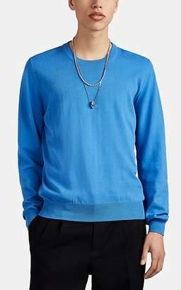 Maison Margiela Men's Suede-Elbow Cotton Crewneck Sweater - Blue